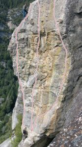 Killer Pillar - The Hundredth Monkey 5.11b - Yosemite Valley, California USA. Click to Enlarge
