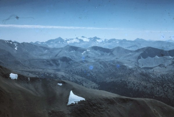 Mts. Lyell and McClure from Mt. Dana. 1960.