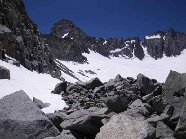 Mt. Sill (upper left) and Palisade Glacier, from the moraine