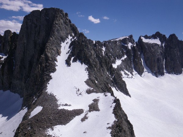Mt. Sill's Swiss Arete just left of center, U-Notch and North Palisade...