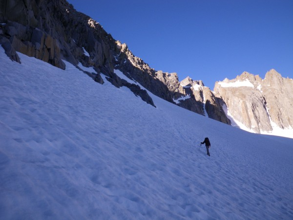Justin traversing the Palisade Glacier