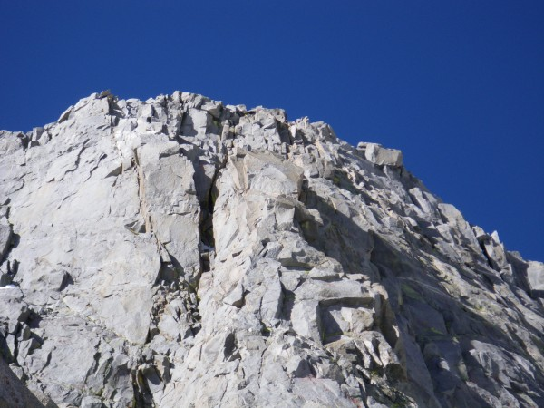 Swiss Arete crux pitch -- 5.9 hand crack in the sun, 5.7 right-facing ...