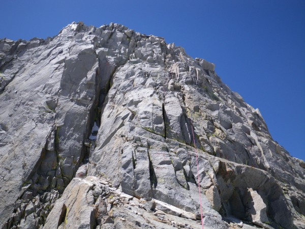 Justin leading fifth pitch of the Swiss Arete