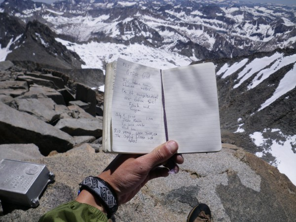 Mt. Sill summit register :)