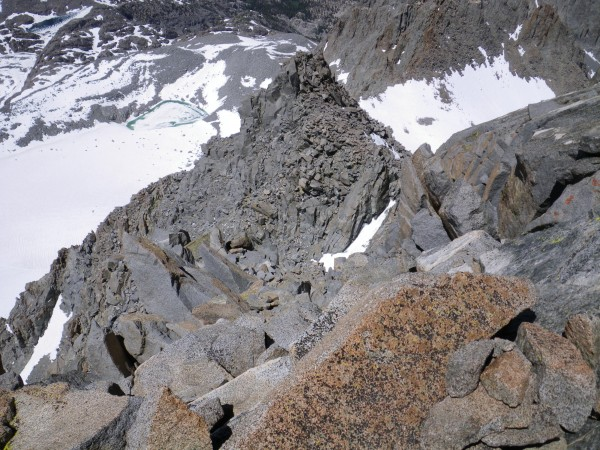 Apex Peak (the peaklet across the L-shaped couloir from Sill) and the ...