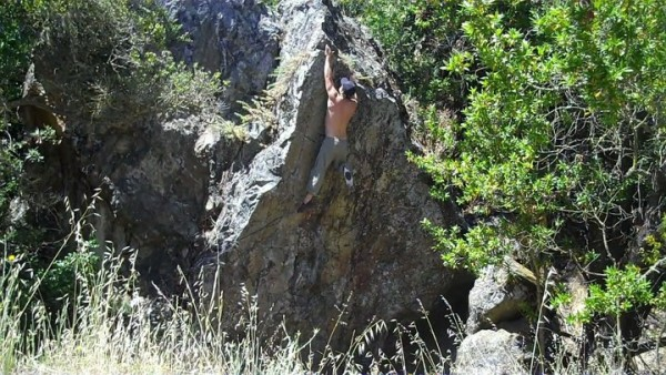 Ryan Grandov working on the Farm Hill Boulder Face (I think)