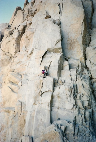 Joe Busby approaching The Fresh Air Traverse on Mt. Whitney's East Fac...