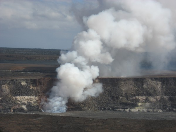Recently opened vent in the floor of Halama'uma'u Crater in the summit...