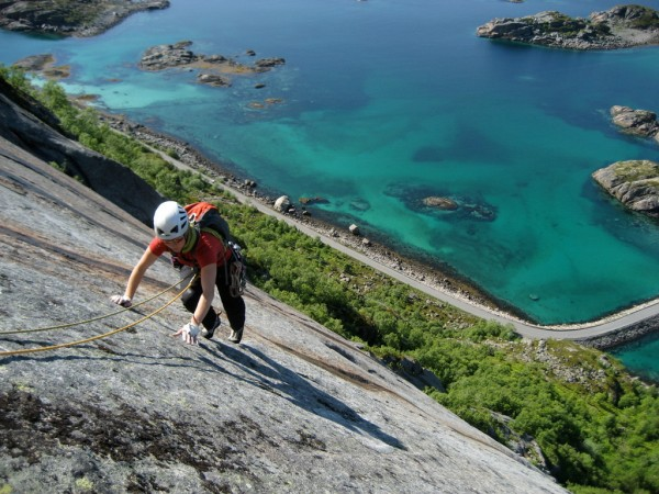 Solens Sønner, Lofoten. This is an Ed Webster route.