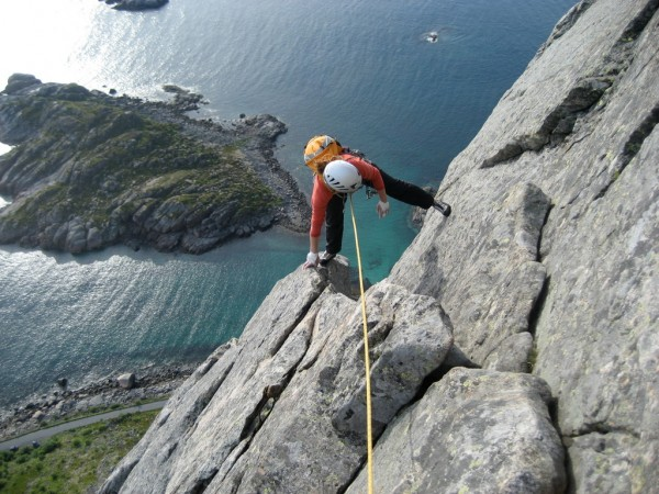 Top of P8 on Vestpillaren, Presten, Lofoten Islands.