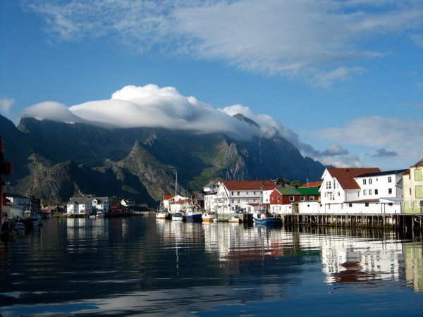Henningsv&aelig;r, the climbing center of the Lofoten Islands.
