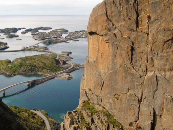 Skil&oslash;peren, with Henningsv&aelig;r in the background, Lofoten Islands.