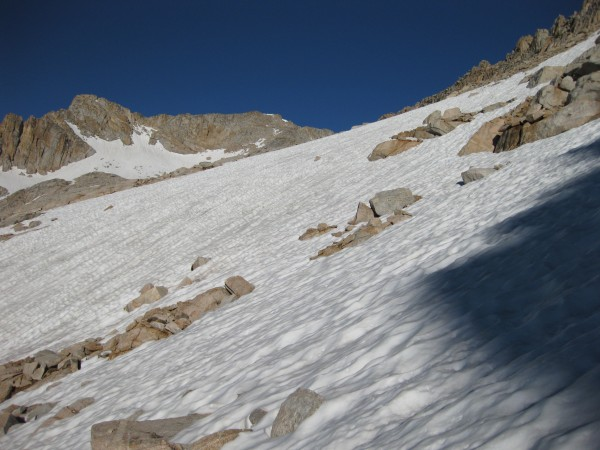 Snowfields above 11500' on the approach to the east ridge