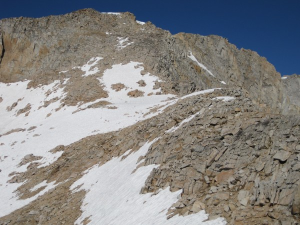 Around 11800' -- the summit plateau is in top center.  The snow up the...