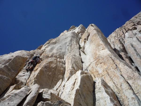 Out of the big corner and trying to stay near the arete.  Big main cor...