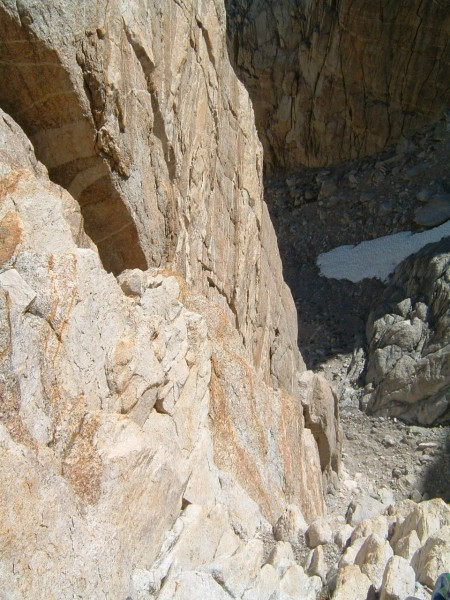 Looking down from first pitch belay