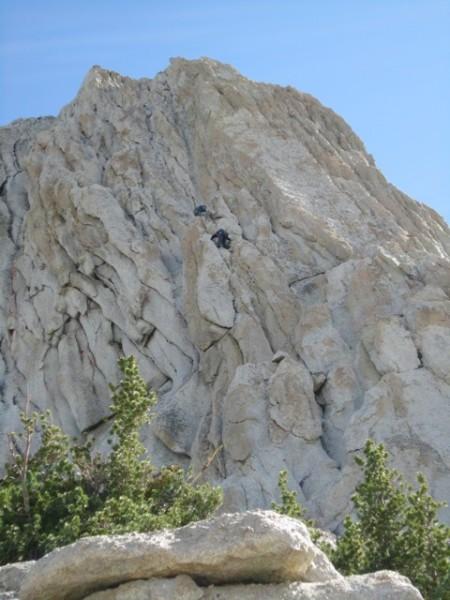 Climbers on normal Matthes Crest start, 10am 7/29/10.