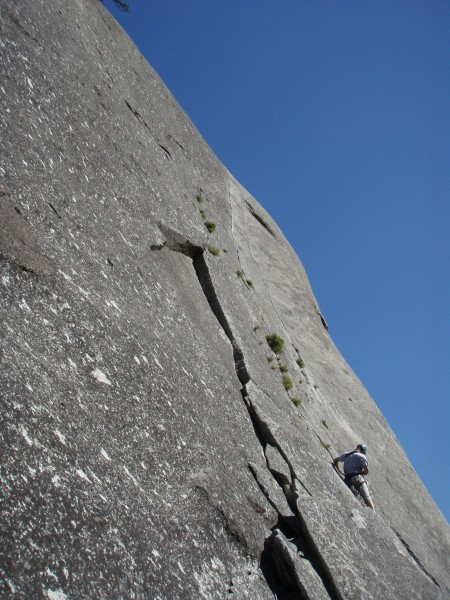 Matt beginning the second pitch of Gemini Crack, with the great 5.8 fi...