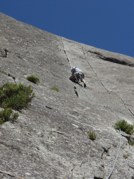 Getting steeper....good lead for only a 2 month climbing history.
