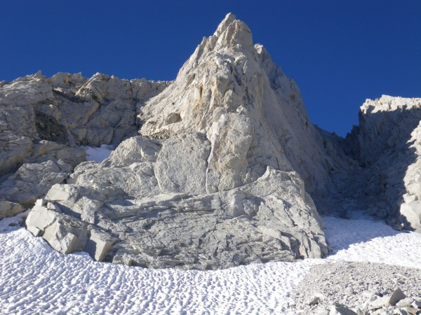 Looking up the North Arete from the moraine