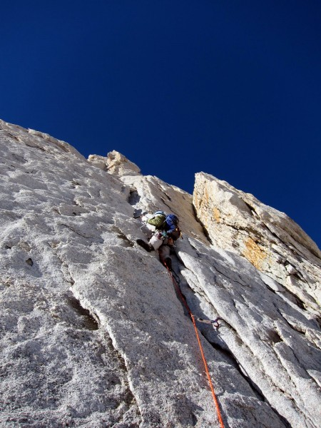 Me leading first pitch (5.7 crack / flakes)