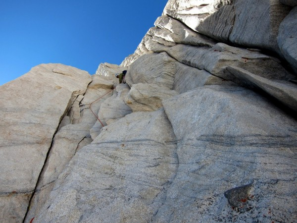 Me leading fifth pitch (5.8)