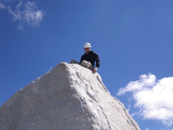 Justin atop the summit (5.6R mantel)