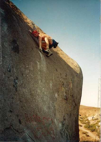 &quot;Epperson's Lunge&quot; Santee Boulders Ca. circa 1986 <br/>