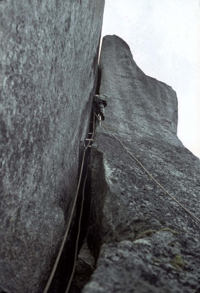Offwidth with tube chocks, 1965 (Squamish)