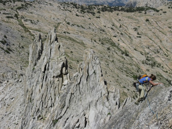 Lizzy traverses a crazy fin near the end of the Matthes Crest.