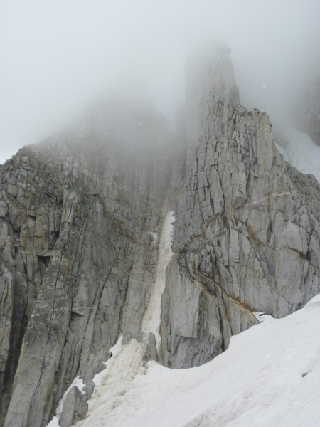 Middle couloir on North Peak - half melted out and gravel coated- 9/8/...