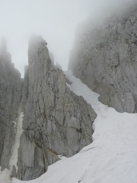 Middle and rightmost couloirs on North Peak - 9/8/10