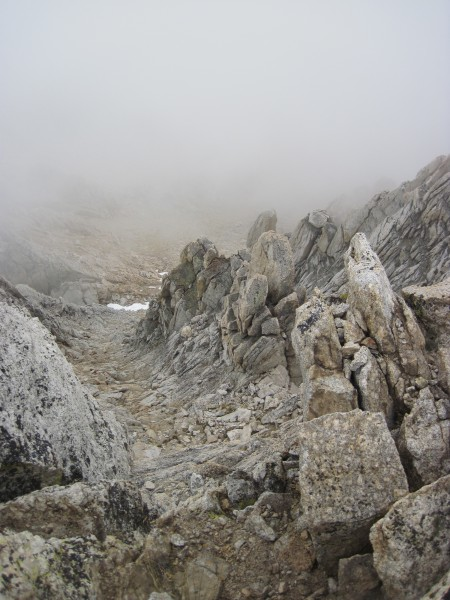 Descent gully obscured by clouds - 9/8/10