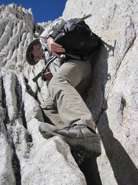 Some of that fun, steep terrain on the NE Ridge of Bear Creek Spire - ...