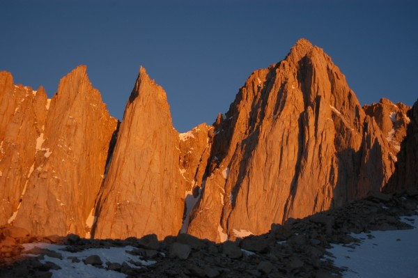 Whitney and Keeler Needle at sunrise from camp.