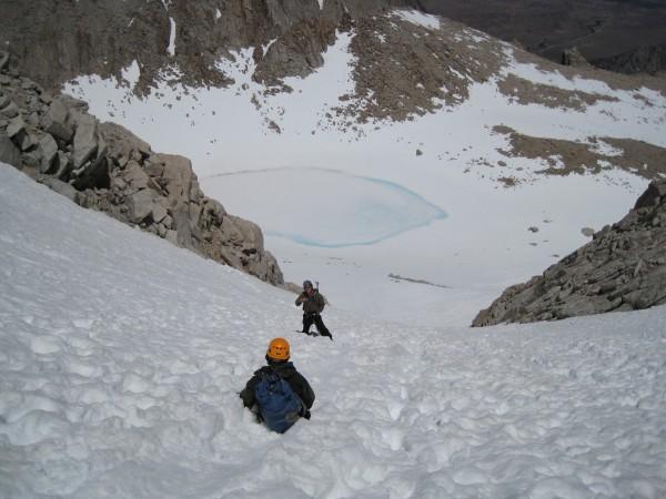 Glissading back to Iceberg Lake.