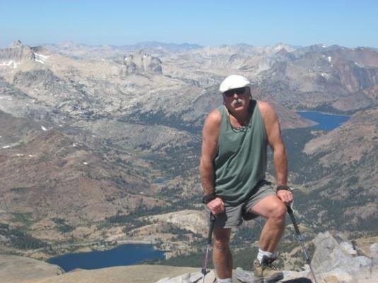 Guido and the view toward Ellery Lake (L.) Saddlebag Lake &#40...