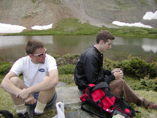 Tyler (white shirt) and Lyle at Horseshoe Lake.
