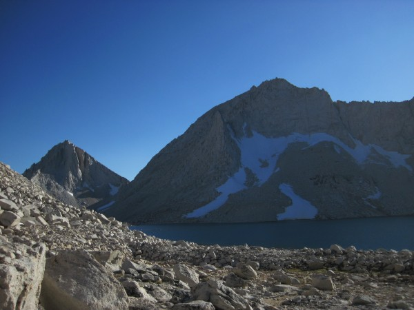 Merriam and Royce Peaks with the lower Royce Lake in the foreground - ...