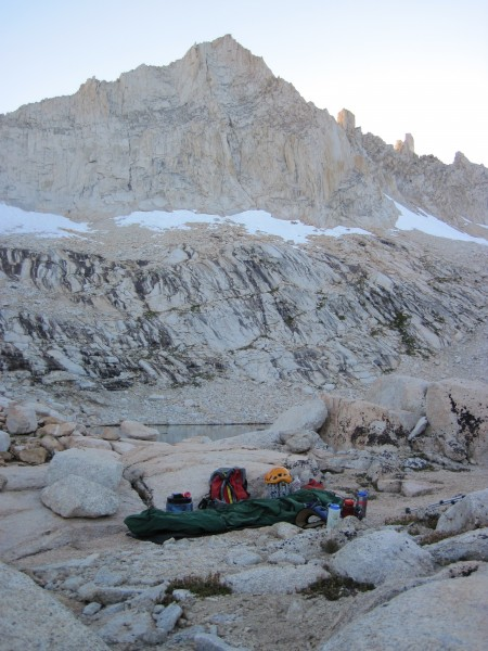 Bivy site in foreground; Feather Peak in the background; N Couloir sta...