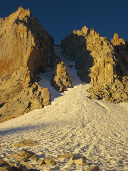 Looking up Feather Peak's North Couloir's left and right branches, and...