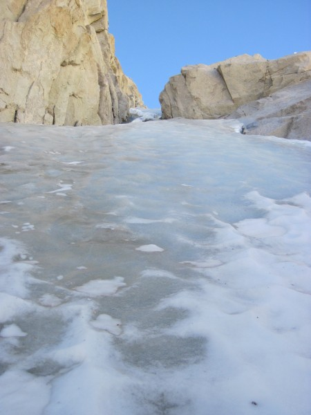 Fun ice above! Looking up the left branch of the Feather's N Couloir -...
