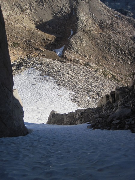 Looking back down the left branch of the Feather's N Couloir - 9/12/10