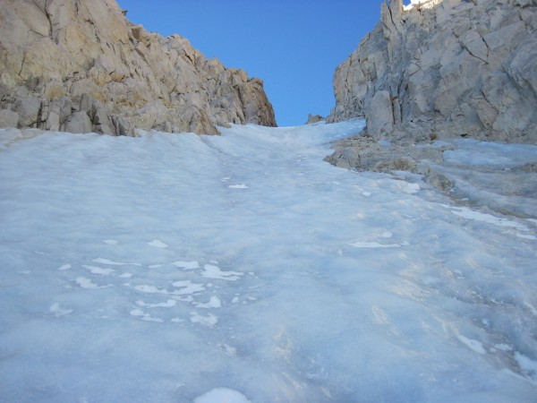 Nearing the steepest ice in the Feather Couloir - 9/12/10