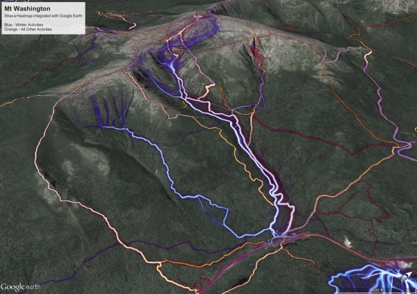 The east side of Mt. Washington, NH. Strava Heatmap activity for summe...
