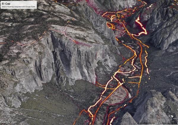 Strava heatmap activity around El Cap, visualized in Google Earth