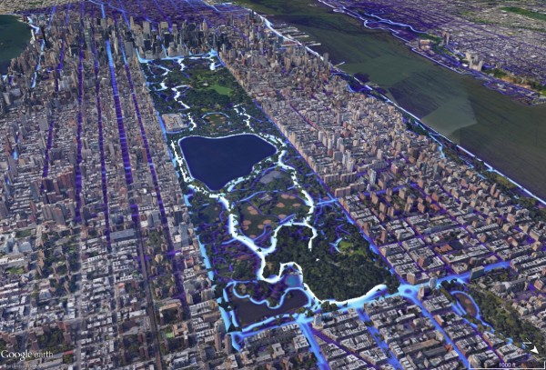 Strava Heatmap for NYC's Central Park area visualized in Google Earth