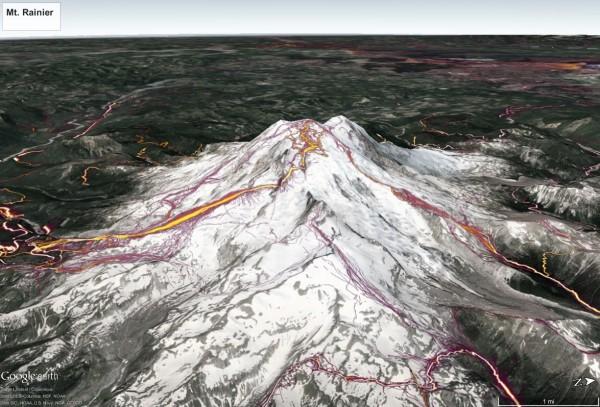 Rainier Strava Heatmap in Google Earth <br/>