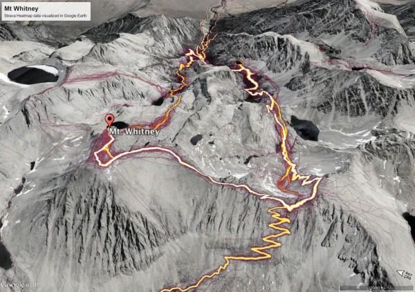 Mount Whitney Strava Heatmap visualized in Google Earth