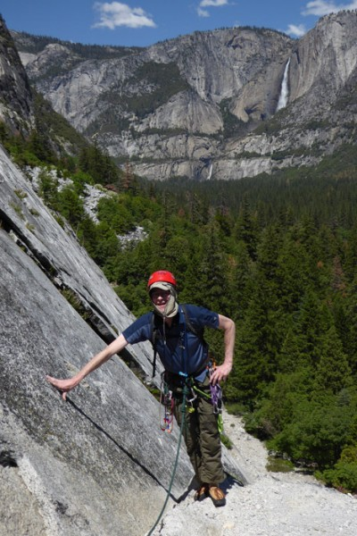 On the Right Side of Monday Morning Slab with John Roe, climbing after...
